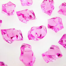 100 x PINK Acrylic Scatter Crystal Nuggets Ice Confetti Wedding Vase Filler