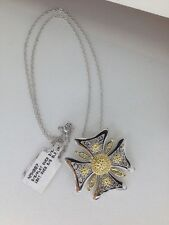 New 18KT Gold over Sterling Silver Cross Pendant Necklace (W6)