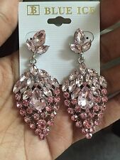 "2.5"" Long Light Pink Drop Crystal Rhinestone Silver Dangle Pierced Earrings"