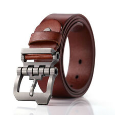 Men Cowhide Vinatge Waist Belt Branded Dress Jeans Pin Buckle Gift Belt