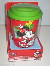 DISNEY MINNIE  MOUSE CERAMIC HOLIDAY COFFEE CUP MUG CHRISTMAS WITH SILICONE LID