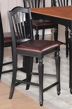 SET OF 4 CHELSEA KITCHEN COUNTER HEIGHT CHAIRS WITH FAUX LEATHER SEAT IN BLACK