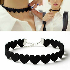 Women Punk Black HEART Velvet Choker Statement Chunky Collar Pendant Necklace