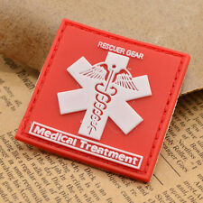 Medical Treatment Patch Badge Rescuer Gear Emblem PVC Square Shape Red 1PC