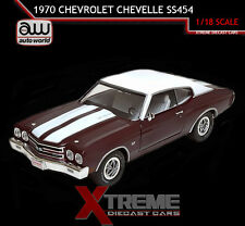 AUTOWORLD AMM1011 1:18 1970 CHEVROLET CHEVELLE SS 454 BLACK CHERRY DIECAST MODEL