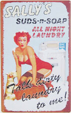 Sally's Dirty Laundry Pinup TIN SIGN vtg soap ad metal poster bar wall decor OHW