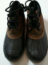 DEXTER Mens Size 8 Brown Rubber Suede Duck Boot Thinsulate Steel Shank Lace Up
