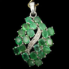 NATURAL! GREEN EMERALD,WHITE TOPAZ STERLING 925 SILVER CLUSTER PENDANT ChainFree