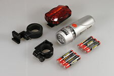 New Bright 5 LED Bicycle Bike Cycle 2x Front and 2x Rear Back Tail Light Lights