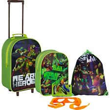 Teenage Mutant Ninja Turtles 5pc con Ruote Borsa Bagaglio Set Trolley Scuola Zaino