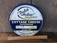 Vintage Dutch Hollow Cottage Cheese Tin Lid Blue & White 30 Lb