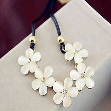 Womens Crystal Flower Choker Chunky Statement Bib Necklace Charm Chain Pendant