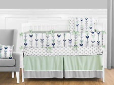 SWEET JOJO NAVY BLUE GREEN GRAY ARROW NEUTRAL BOY OR GIRL BABY BEDDING CRIB SET