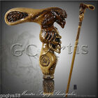 WALKING STICK CANE AUTHORS MADE WOODEN CARVED HIKING STAFF RAVEN & HUMAN SKULL