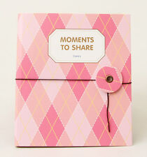 Instax Photo Album Namecard Storage Case Mini Film Book 80 Photos Pink-Argyle