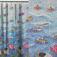 MOSAIC TROPICAL UNDERWATER FISH BLUE BLACK RED GREEN YELLOW SHOWER CURTAIN