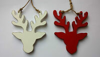Wooden Red White Reindeer Stag Christmas Tree Decoration Wall Wood Retro Vintage
