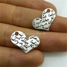 13551 30PCS Vintage Silver Tone Alloy Love Heart Love Words Pendant Charms