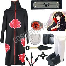 Naruto Akatsuki cloak Uchiha Itachi Cosplay Costume set Anime
