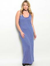 Zenobia blue & cream striped maxi dress, Plus size 2X