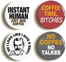COFFEE BADGE BUTTON PIN SET (Size is 1inch/25mm diameter) FUNNY COFFEE LOVER