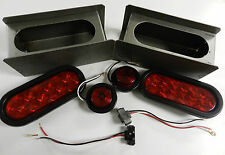 "Trailer Truck LED Steel 6"" OVAL Tail Light Guard Box COMPLETE KIT w/marker light"