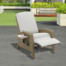 Outsunny Patio Rattan Furniture Wicker Sofa Chair Recliner Lounge Cushioned