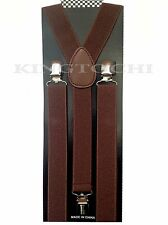 Mens Womens D/Brown Clip-on Suspenders Elastic Y-Shape Adjustable Braces