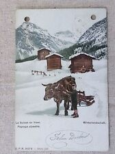 La Suisse en hiver Winterlandschaft Switzerland Alps Alpine Vintage Postcard OLD