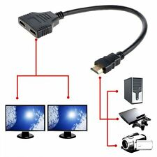 1080P HDMI Port Male to 2 Female 1 In 2 Out Splitter Cable Adapter Converter -UK
