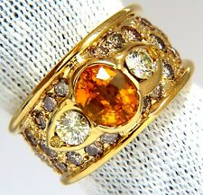 $7000 3.50ct natural canary oval sapphire & fancy colors diamonds ring 14kt.