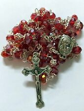 Red Crystal Beads Rosary Catholic Necklace Holy Soil Medal with Crucifix
