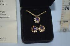 Amethyst & Crystal Pendant & Pierced Earrings Set Publishers Clearing House COA