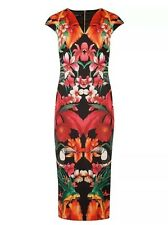 Ted Baker Dress Size 2 Uk 10 BISMII Tropical toucan Parrot Mirrored