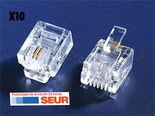 10X Conector de Telefono RJ11 2 Hilos RJ 11 Transparente