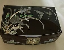 Vintage inlaid mother of pearl jewelry box w/ butterflies and turtle latch