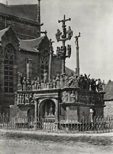 1927 Vintage FRANCE Calvary Plougastel-Daoulas Abbey Statue Photo Art HURLIMANN