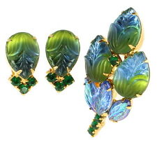 "Vintage Blue Green Art Glass & Rhinestone Schreiner Pin 2"" Earrings Set Attrib."