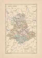 C9085 France - HAUTE-VIENNE - Cartina geografica antica - 1892 antique map