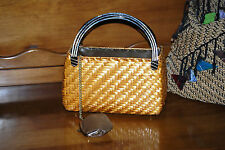 vintage JAPAN lacquer straw wicker Art Deco frame handbag tote bag box purse
