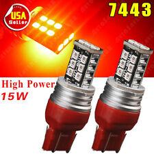 2X Pure Red 7443 7444NA 992A 2835 High Power 15W Parking Backup LED Light 12V US