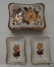 Vintage Ardalt Japan Porcelain Covered Trinket Dish w/2 Small Dishes Roses #6473