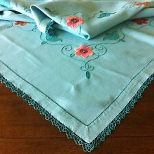 Large Vintage Irish Linen Tablecloth Hand Embroidered Flowers Tatted Lace Aqua