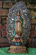 Hand Carved Nuestra Señora de Guadalupe con Milagros Mexican Folk Art Michoacán