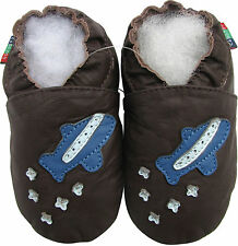soft sole baby shoes space shuttle dark brown 6-12m S
