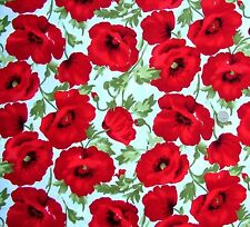 Large Poppies on cream  Fabric fq 50 x 56 cm 100% Cotton JL 91171