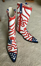 NIB hand-made in Italy OVEST cowboy BOOTS w/USA Flag Overlay sz 41 EUR | 8 US