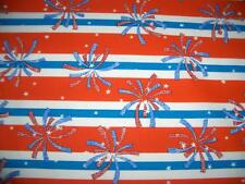 July 4th Patriotic Fire Works Stripes Red White Blue Cotton Quilt Fabric BTY