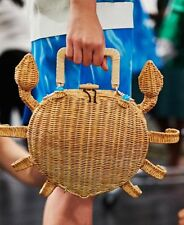 Kate Spade Splash Out Crab Wicker Handbag Purse Natural STRAW BEACH BAG CRUISE