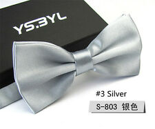 Fashion Silver Solid Mens Bow Tie Formal Work Bowtie Neckwear Multi Color Ties
